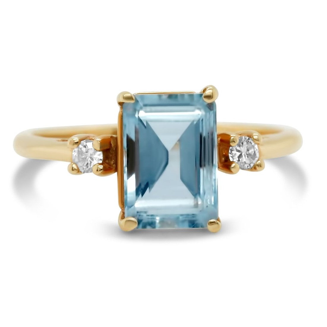 three stone emerald cut aquamarine and diamond estate ring under 1000
