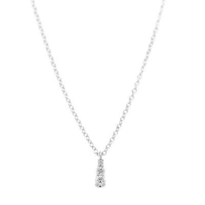 14k white gold graduated round diamond necklace with a 16in long chain under 500