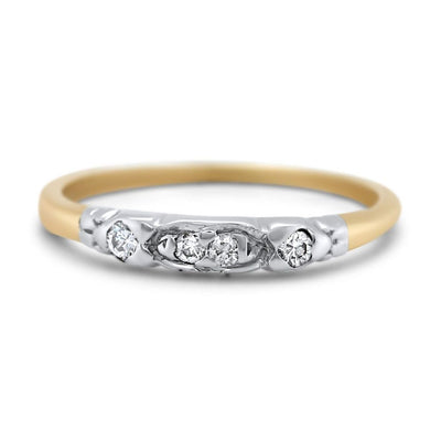 14k yellow and white gold diamond engraved antique wedding band