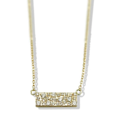 14k yellow gold diamond bar necklace with a 16in chain