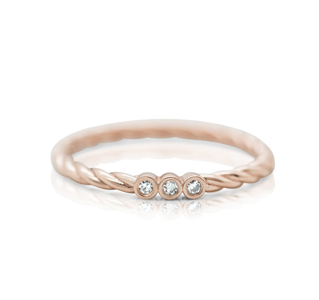 rose gold stack ring with white diamond braided band