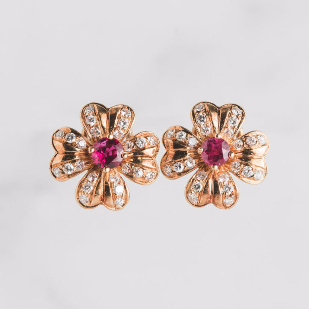 yellow gold diamond and pink gemstone flowe earrings