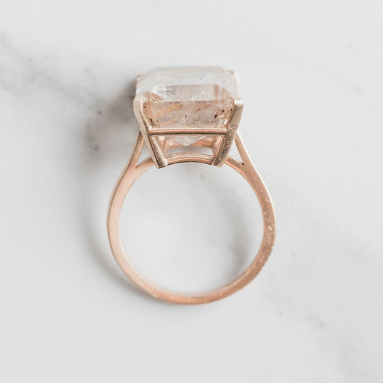 yellow gold and prong set quartz ring top view