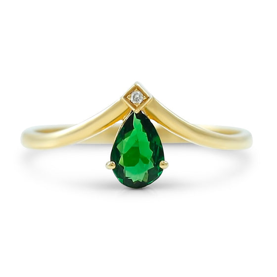pear shaped green tsavorite and diamond v shaped yellow gold estate ring