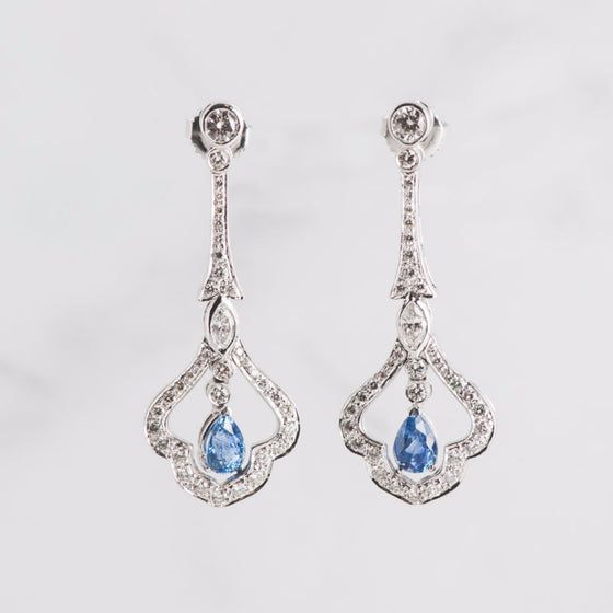 white gold and blue sapphire earrings