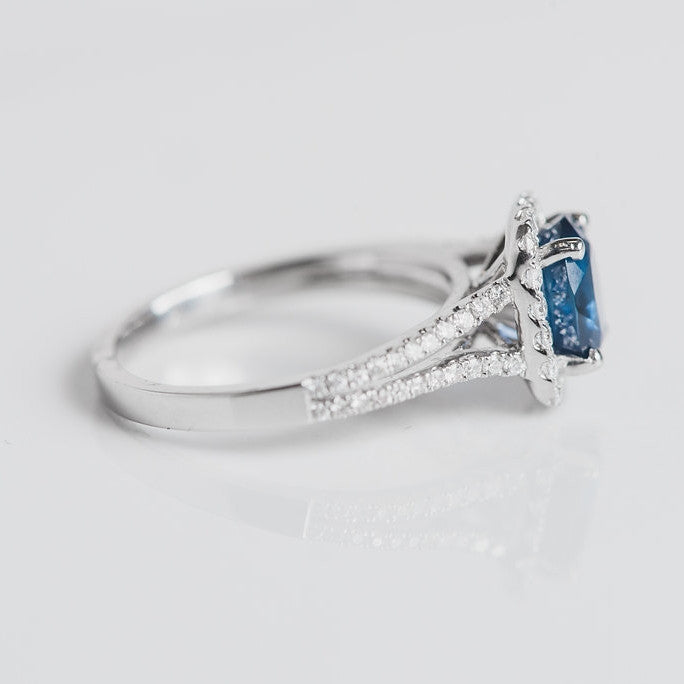 white gold diamond and blue sapphire ring