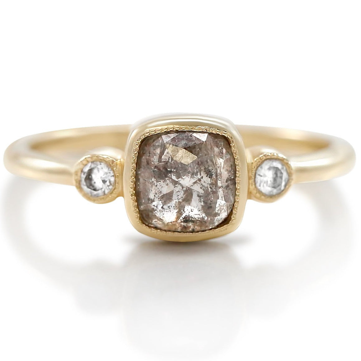rough diamond with yellow gold band and white diamonds