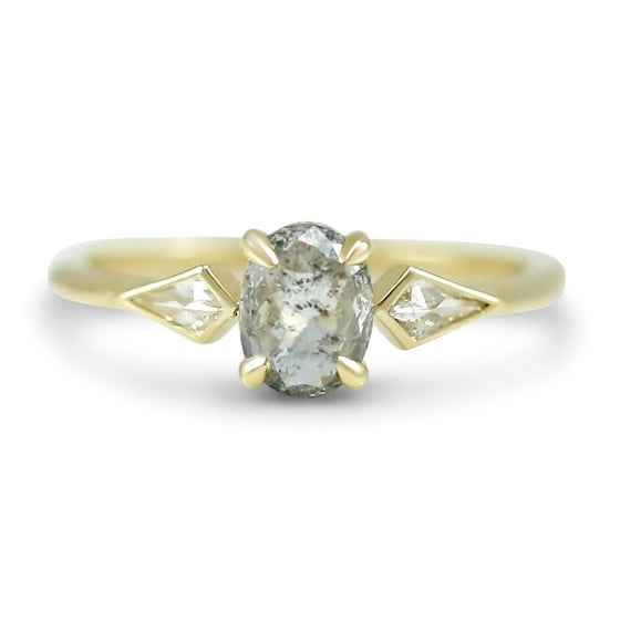 14k gray diamond engagement ring with kite diamonds