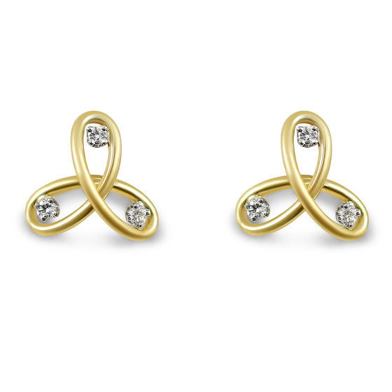 estate knot stud earrings 18k yellow gold and 0.21tcw diamonds