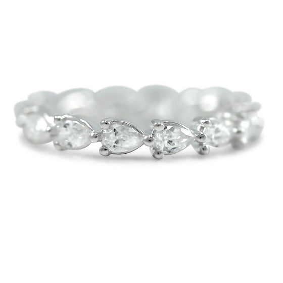 pear shaped diamond eternity wedding band available in 14k white, yellow or rose gold