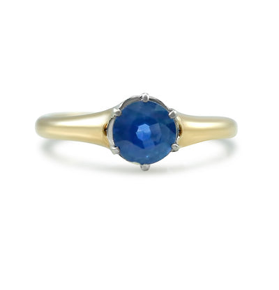 0.55ct round sapphire estate engagement ring with mixed metals 14k yellow gold and white gold