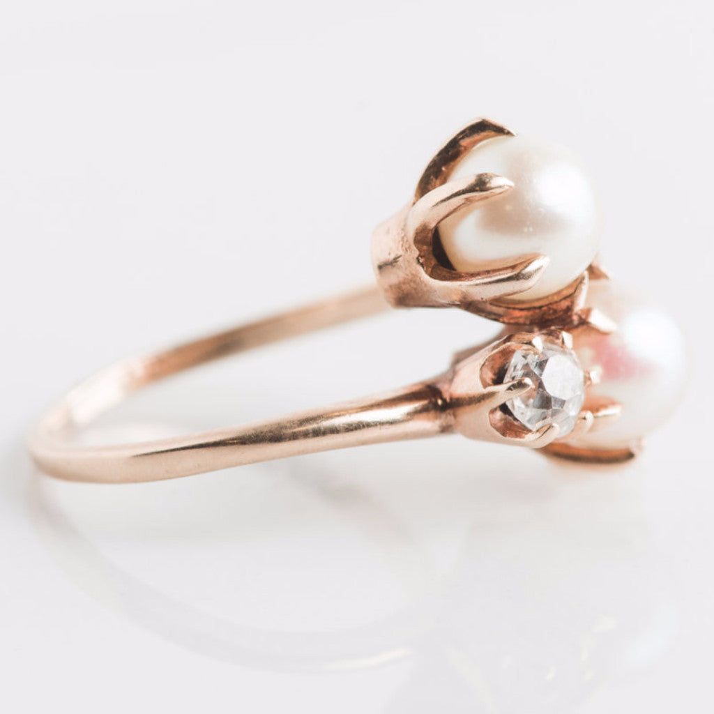 yellow gold pearl and diamond ring side view