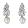 14k white gold 2mm pearl and diamond dangle estate earrings wedding day jewelry