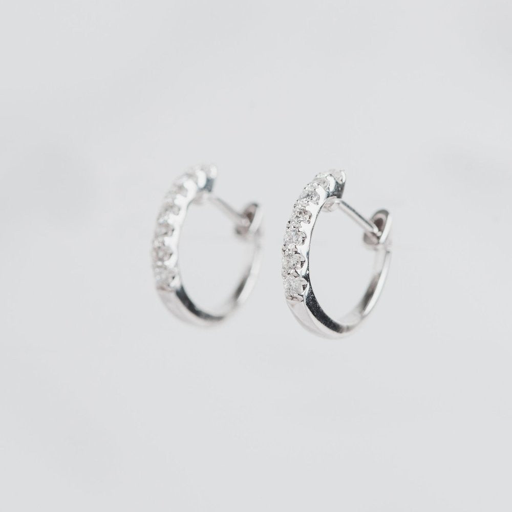 white gold and diamond hoops