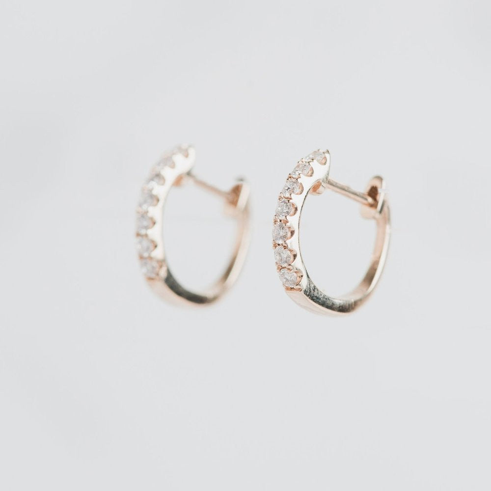 yellow gold and diamond hoops
