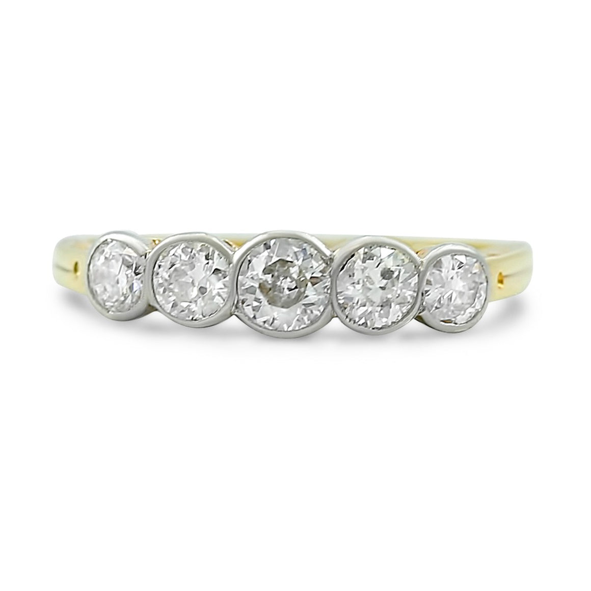 0.60tcw 5 stone  bezel set diamond antique ring set in platinum and 18k yellow gold c. 1930