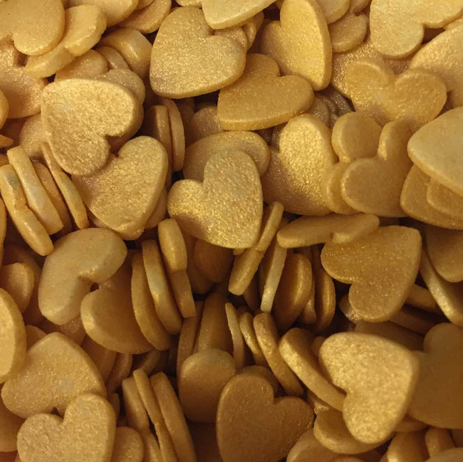 Gold Heart Sprinkles (Solid Hearts) - EazyColours