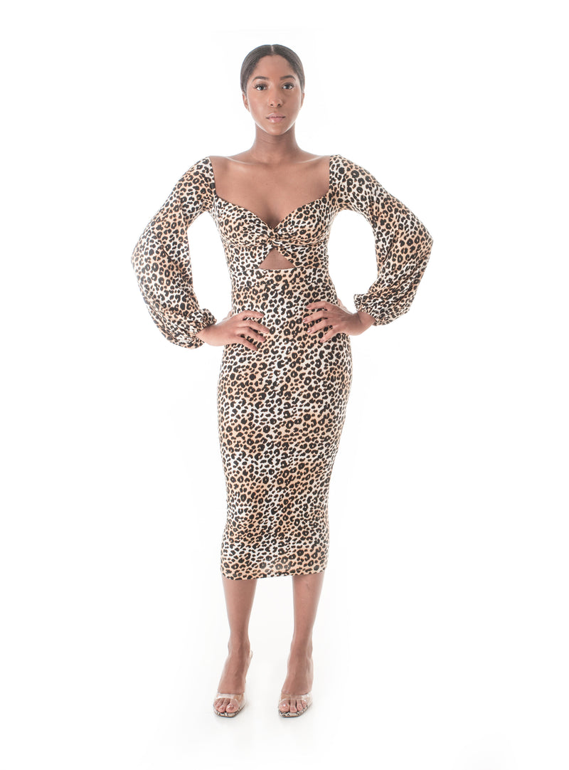 Safari Queen Leopard Midi Dress