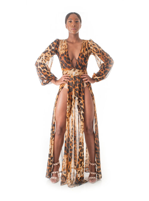 Amazon Queen Leopard Maxi Dress