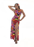 Pink red orange green and black long sleevless maxi dress with slit