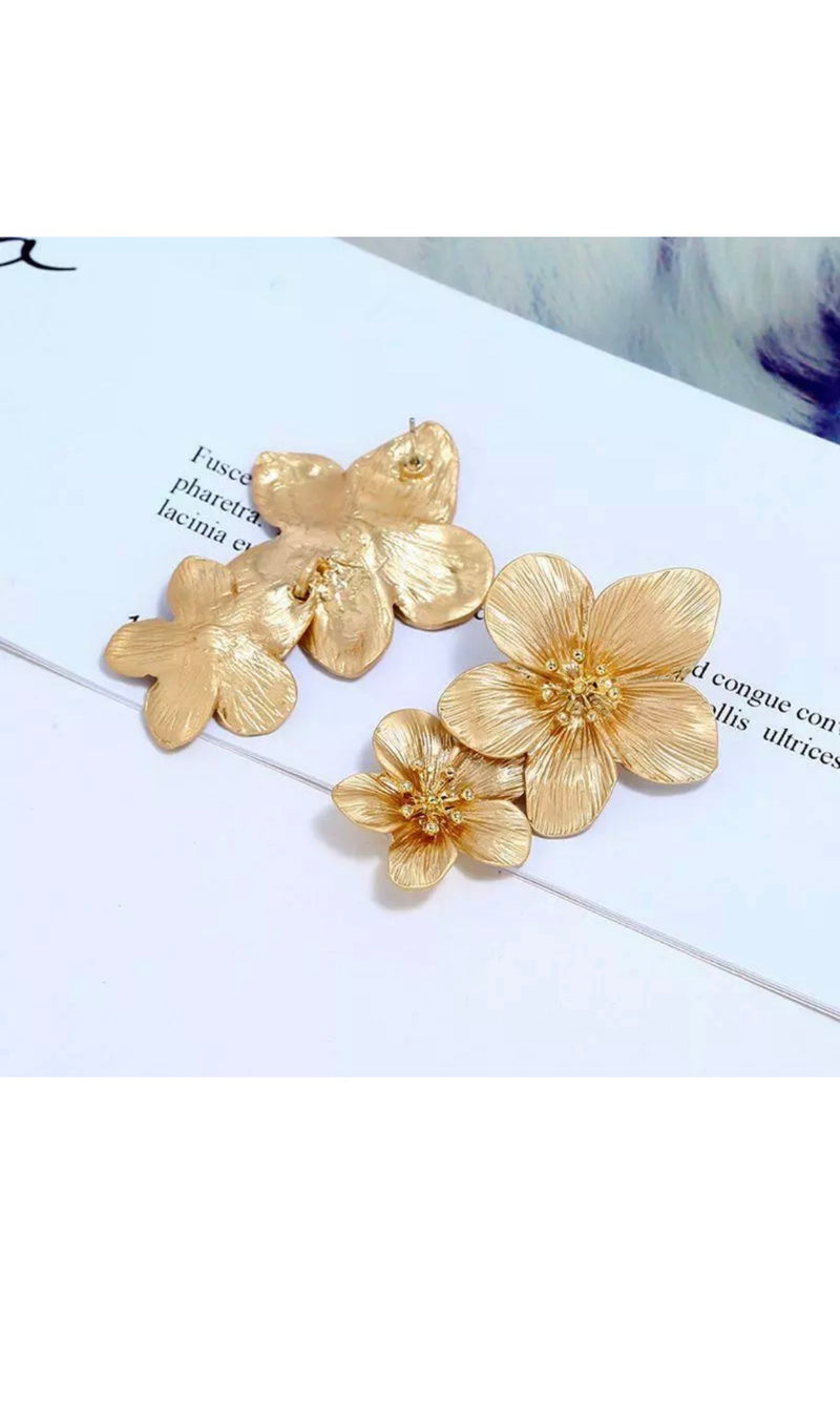 Gold Floral Statement Earrings