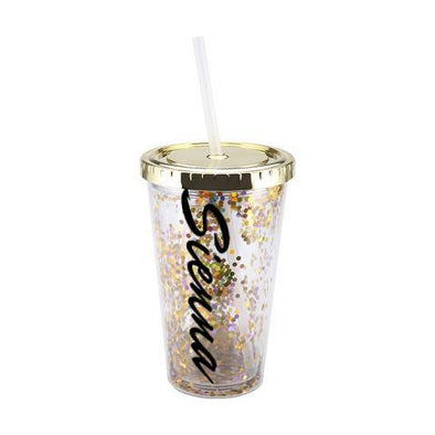 Personalised Glitter Cup with Straw