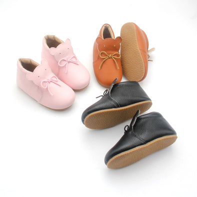 Little Cub | Leather Bear Boots | Pink, Tan & Black | Size 6-9