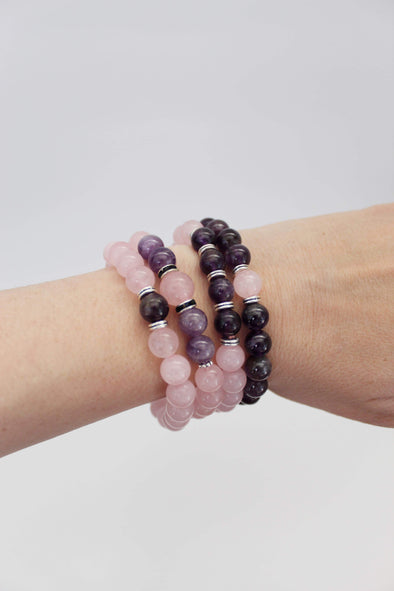 Rose Quartz & Amethyst Beaded Bracelets | Healing Crystals