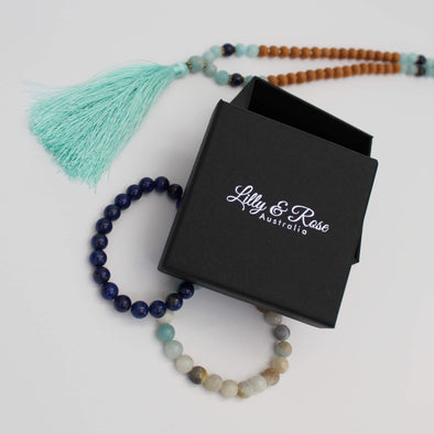Blue Jade & Maple Wood Mala Necklace