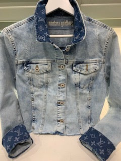 Montana Goldberg Cropped Jean Jacket With LV Fabric