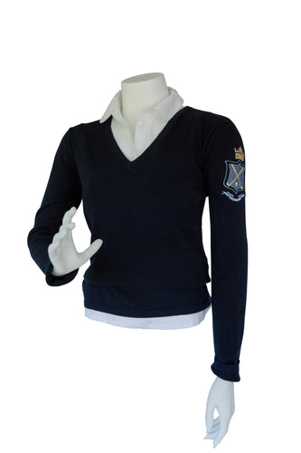 V Neck Golf Motif Sweater