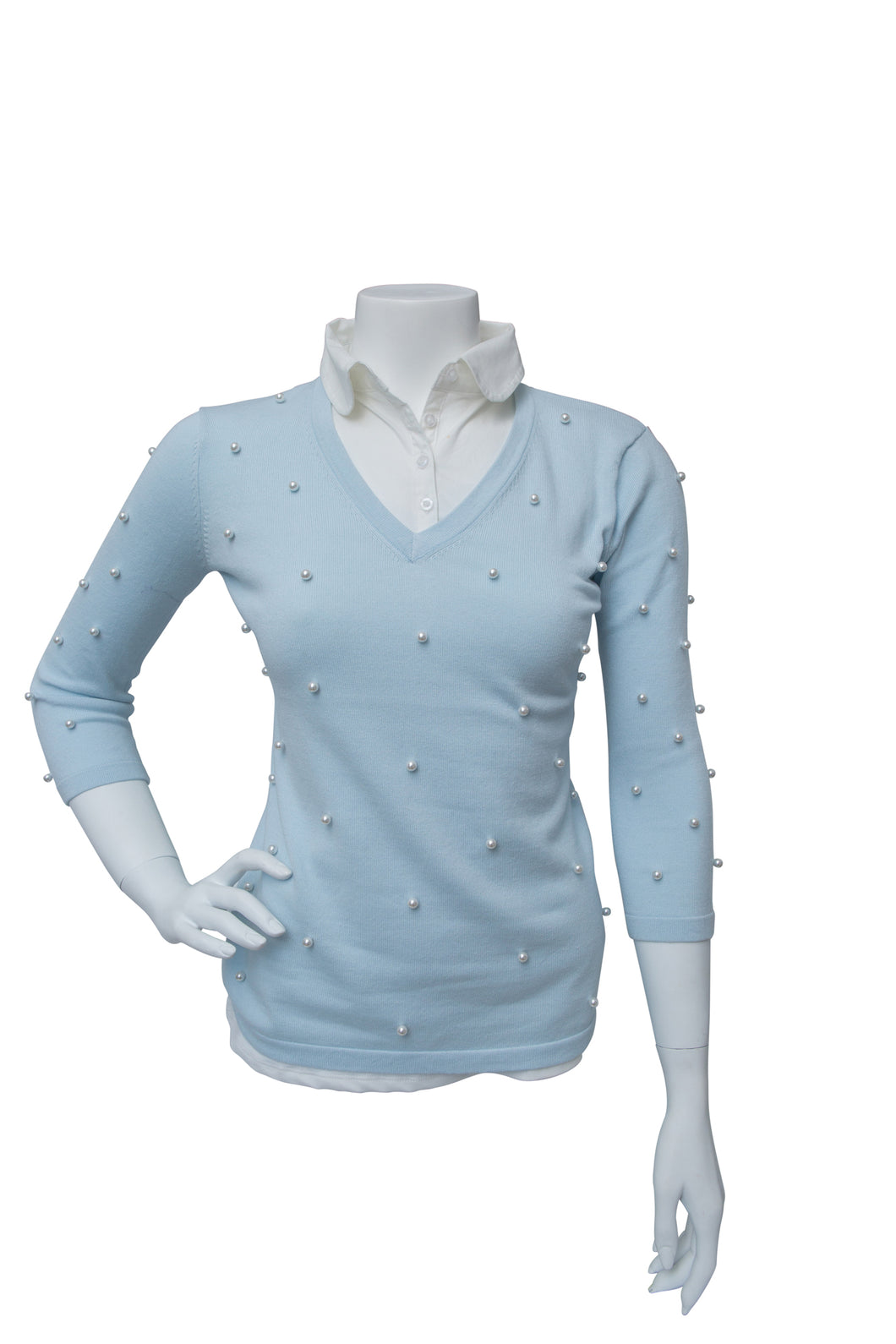 Pearl 3/4 Sleeve V-neck Sweater