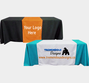 "Customize Table Runner with your logo or Design From 30""x72""  to  30""x90""  Great for trade show booths - Tremendos Dsigns"