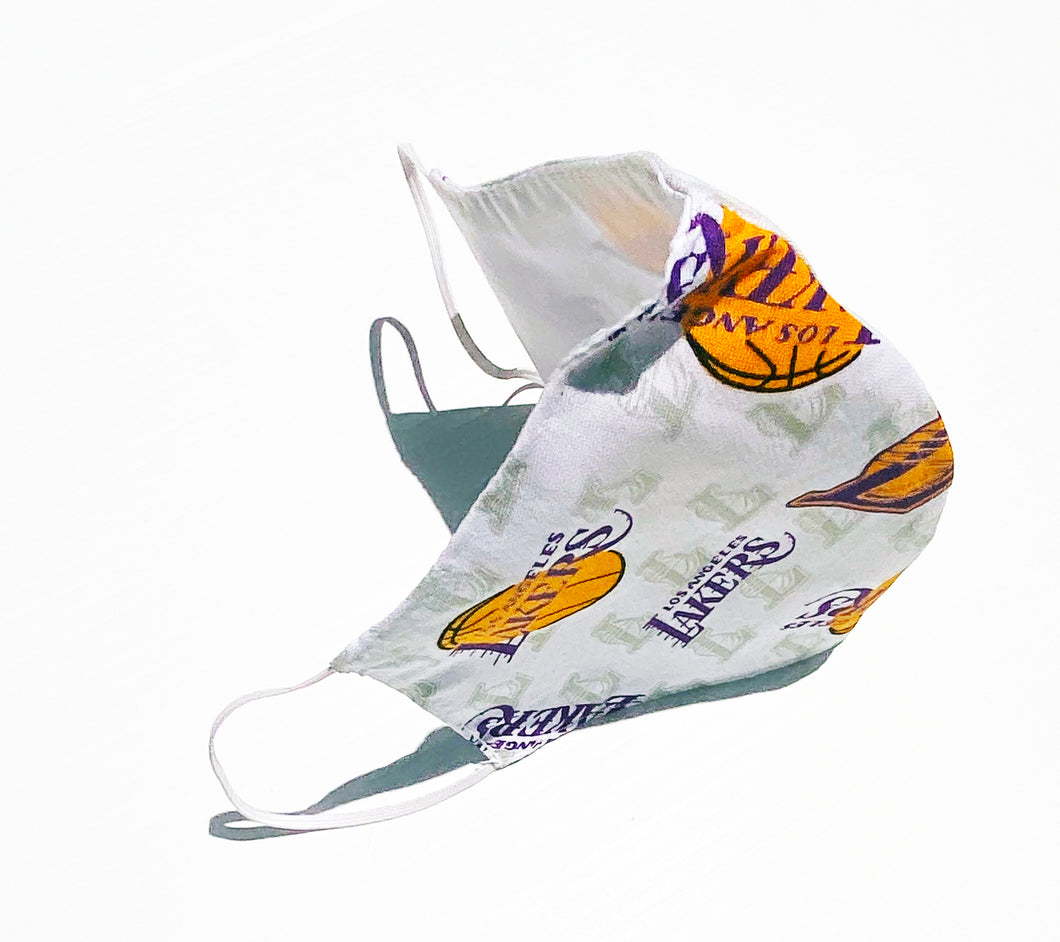 Face Mask 4 Pack Lakers  pattern design full color  Mouth Cover 3 layers and Option to add Filter