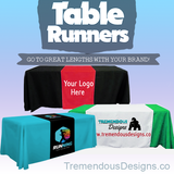 "Customize Table Runner with your logo or Design From 44""x72 to  44""x90""  Great for trade show booths - Tremendos Dsigns"