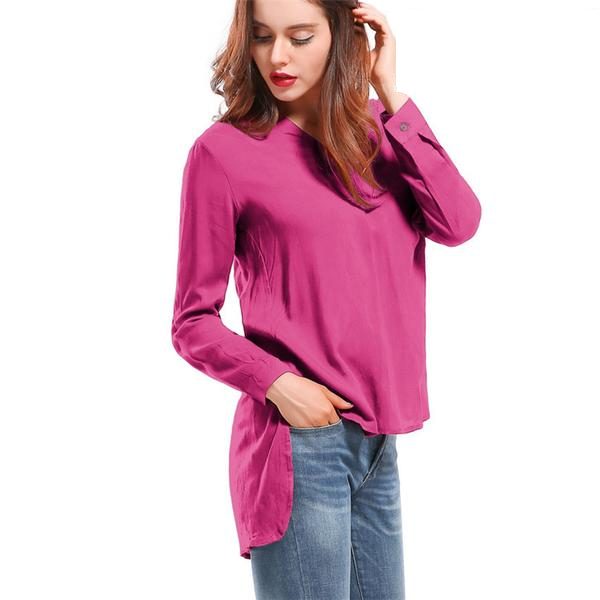 Online discount shop Australia - Long Sleeve blouse shirt Women Shirts Cotton Women Fashion Streetwear Blouses V-neck Solid Sexy Loose Women Tops