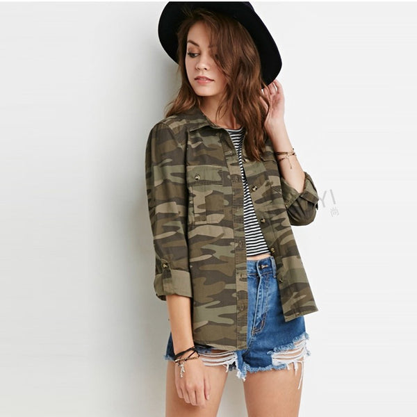 Casual Fashion Women Camouflage Jacket Sheath Disposition Outerwear Vogue Ladies Coat