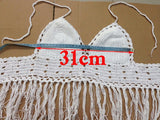 Lace crochet top style fringe tops bralette sexy crop top tassel knitted fitness women top strappy bra