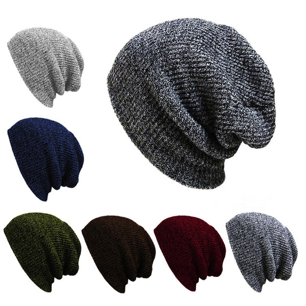 9db72d7c12c89 Casual Cotton Knit Hats For Women Men Baggy Beanie Hat Crochet Slouchy  Oversized Ski Cap Warm