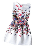 Style Dresses For Girl Butterfly Flower Printed Sleeveless Formal Girl Dresses Teenagers Party Dress
