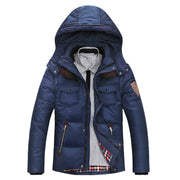 Online discount shop Australia - Men's Down Jacket Solid Colors And Jacket Men Duck Down Hooded Thick Clothing Male Casual Zipper Coats
