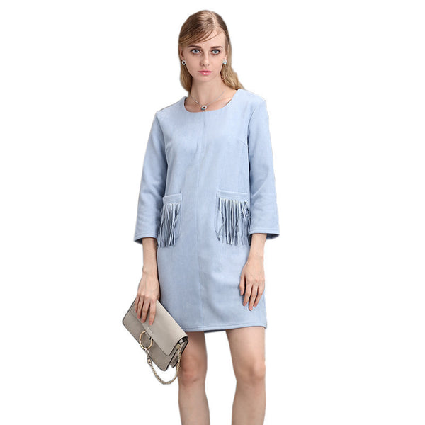 Online discount shop Australia - autumn winter new women's pocket tassels fringed pink black khaki blue faux suede dress long sleeve