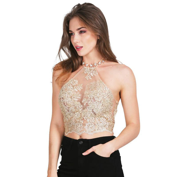 Elegant white lace crop top  beach backless short halter tops Sexy white party camis gauze metallic women tank top