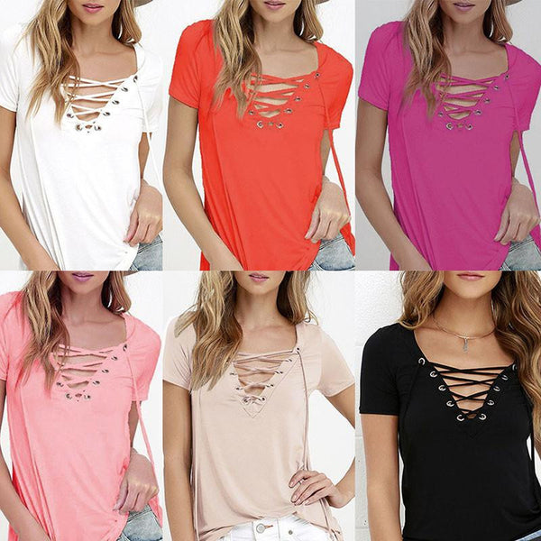 Fashion Women V Neck Loose Pullover T Shirt Short Sleeve Tops