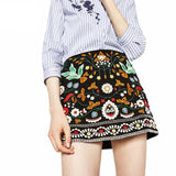 new women's bohemian style A-line ethnic embroidery skirt black