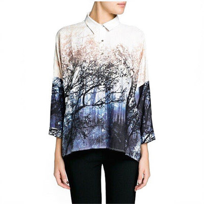 forest landscapes tree printed over-sized loose style women blouses shirts plus size batwing sleeve
