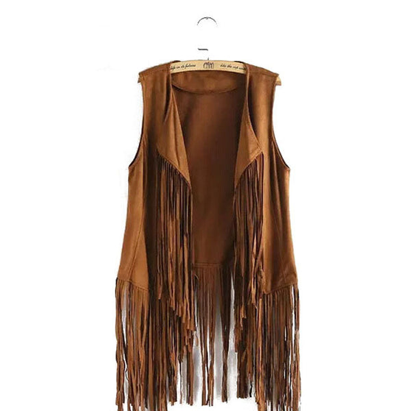 fringed tassels faux suede sleeveless asymmetrical vest jacket
