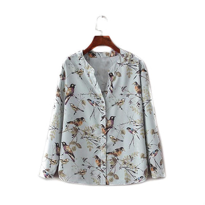 New V-neck blue vintage floral birds print women blouse shirt long sleeve