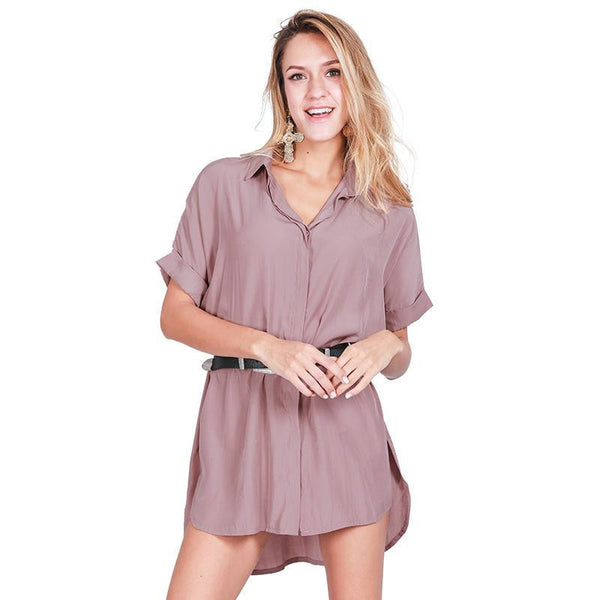 Online discount shop Australia - Casual side split satin dress shirt women Brief loose short sleeve office dress Sexy straight summer dress