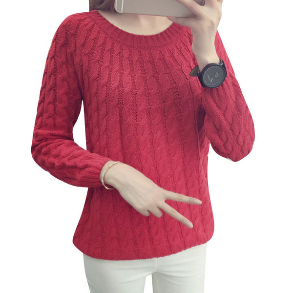 New Fashion Knitted Sweater Long Sleeve O-neck Solid Women Sweaters and Pullovers All-match Sudaderas 6 Multi Colors